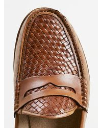 TOPMAN - Brown Oscar Weave Tan Leather Penny Loafers for Men - Lyst