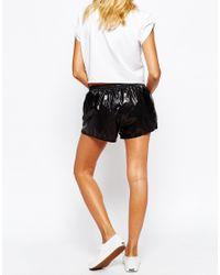 American Apparel - Black Wet Look Mini Athletic Shorts - Lyst