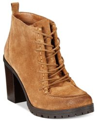 Circus by Sam Edelman | Brown Denver Stack Heel Ankle Booties | Lyst