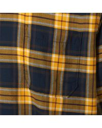 Universal Works Metallic Gold And Navy Himalaya Check Garage Shirt for men