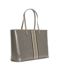Tory Burch - Gray Gemini Link Stripe French Grey Coated Canvas Tote Bag - Lyst