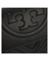 Tory Burch - Fleming Geo Black Leather Clutch - Lyst