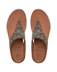 Fitflop - Metallic Banda Roxy Gold Toe Post Sandals - Lyst