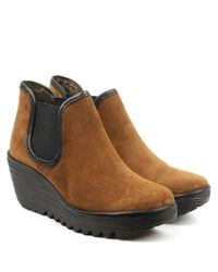 Fly London - Brown Yat Tan Suede Mid Wedge Chelsea Boot - Lyst