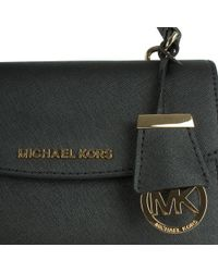 Michael Kors - Ava Mini Black Leather Cross-body Bag - Lyst