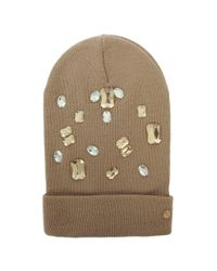 374fda249be Armani Jeans Jewelled Beige Wool Mix Beanie Hat in Natural - Lyst