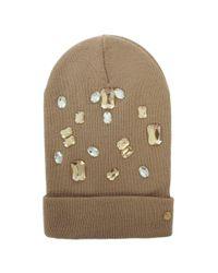 Armani Jeans | Natural Jewelled Beige Wool Mix Beanie Hat | Lyst