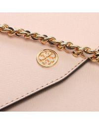 Tory Burch - Pink Robinson Convertible Pale Apricot & Royal Navy Shoulder Bag - Lyst