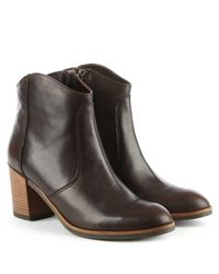 Lamica - Brown Leather Western Ankle Boot - Lyst