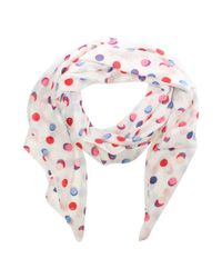 Armani Jeans - All Over Dotty Print White Scarf - Lyst