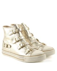 Ash - Metallic Virgin Bis Platinum Leather High Top Trainer - Lyst