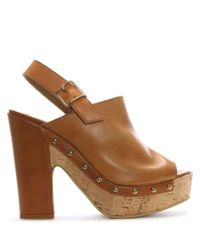 Donna Più - Brown Tan Leather Studded Platform Sandals - Lyst
