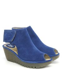 Fly London - Yone Blue Suede Backless Wedge Sandal - Lyst
