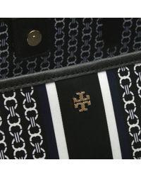 Tory Burch - Gemini Link Stripe Black Coated Canvas Tote Bag - Lyst