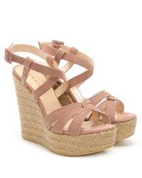 Daniel - Atosita Pink Suede Jute Wedge Sandals - Lyst