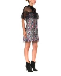 Self-Portrait - Blue Floral Vine Mini Dress - Lyst
