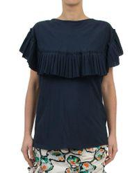 Marni | Blue Ruffled Silk-blend Top | Lyst