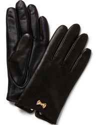 Ted Baker - Black Bow Wrist Detail Lthr Gloves - Lyst