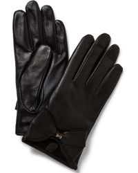 Ted Baker | Black Large Bow Leather Gloves | Lyst