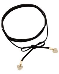 Rebecca Minkoff | Metallic Heart Leather Wrap Choker/wrap Bracelet | Lyst