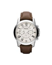 Fossil - Brown Grant Chronograph Leather Men's Watch for Men - Lyst