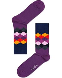 Happy Socks | Purple Faded Diamond Socks | Lyst