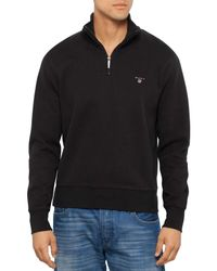 GANT | Black Sacker Rib Half Zip Collar for Men | Lyst