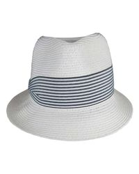 Morgan Taylor | White Paper Braid Visor/fedora With W/stripe Band for Men | Lyst