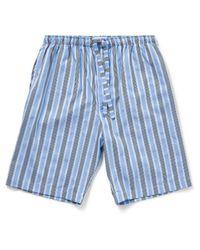 Derek Rose | Blue Mayfair 66 Pure Cotton Satin Stripe Lounge Shorts for Men | Lyst