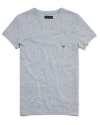 Emporio Armani - White Melange Cotton Stretch V-neck T-shirt for Men - Lyst