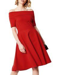 Karen Millen - Red Bardot Skater Dress - Lyst