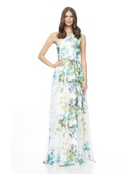 David Meister   Green One Shoulder Printed Gown   Lyst