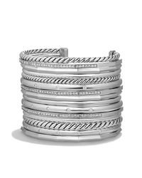 David Yurman - Metallic Stax Wide Cuff Bracelet With Diamonds, 54mm - Lyst
