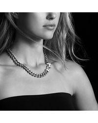 David Yurman - Metallic Cable Buckle Necklace With Diamonds, 14mm - Lyst