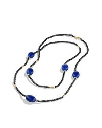 David Yurman - Dy Signature Bead Necklace With Black Spinel And Lapis Lazuli In 18k Gold - Lyst