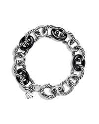 David Yurman - Large Oval Link Bracelet With Black Ceramic - Lyst