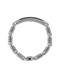 David Yurman - Chevron Id Bracelet With Black Diamonds for Men - Lyst