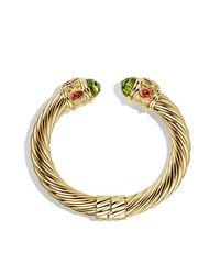 David Yurman - Yellow Renaissance Bracelet With Peridot And Tanzanite In 18k Gold, 10mm - Lyst