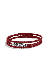 David Yurman | Chevron Triple-wrap Bracelet In Red for Men | Lyst