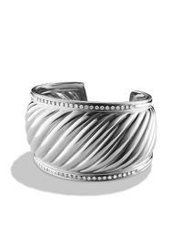 David Yurman | Gray Sculpted Cable Cuff Bracelet With Diamonds, 41mm | Lyst