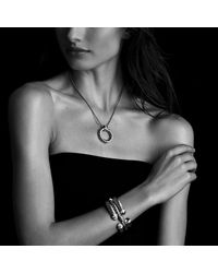 David Yurman - Metallic Sculpted Cable Bracelet With Diamonds, 5mm - Lyst