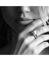 David Yurman - White Cable Pearl Ring With Diamonds - Lyst