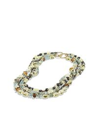 David Yurman | Pink Dy Signature Bead Necklace With Aquamarine, Lemon Citrine And Pyrite In 18k Gold | Lyst