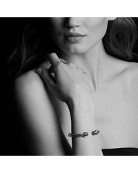 David Yurman - Metallic Cable Classic Bracelet With Black Diamonds, 7mm - Lyst