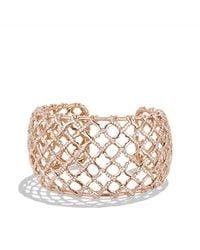 David Yurman - Metallic Venetian Quatrefoil Wide Cuff Bracelet With Diamonds In 18k Rose Gold, 41mm - Lyst