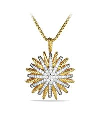 David Yurman - Yellow Starburst Large Pendant With Diamonds On Chain - Lyst