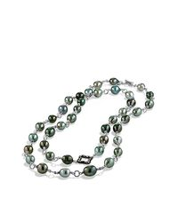 David Yurman | Gray Bead And Chain Necklace With Pearls And Diamonds | Lyst