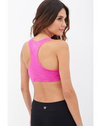 Forever 21 - Pink Low Impact - Space Dyed Racerback Sports Bra - Lyst