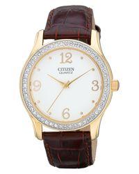 Citizen | Women'S Quartz Brown Leather Strap Watch 35Mm El3012-00A | Lyst