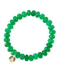 Sydney Evan | 8Mm Faceted Green Onyx Beaded Bracelet With 14K Gold/Diamond Small Buddha Charm (Made To Order) | Lyst